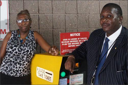 Lynne Lancaster and James Jackson visit the downtown RMA parking deck.