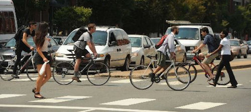 Cyclists near VCU. Photo credit: Style Weekly.