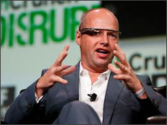 MOOC pioneer Sebastian Thrun. I'd feel a lot better about MOOCs if he took off those uber-geeky Apple computer-glasses.