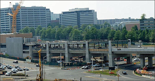 Tysons Metro station on Rt. 123 under construction