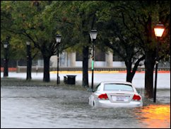Flooded street in Norfolk during Hurricane Sandy.