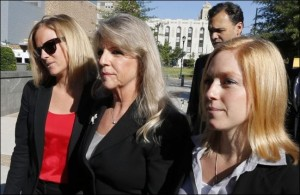 Maureen McDonnell flanked by daughters Rachel (left) and Cailin.  Old view of Maureen: wicked witch of the Governor's Mansion. New view: miserable spouse looking for attention. Photo credit: Associated Press.