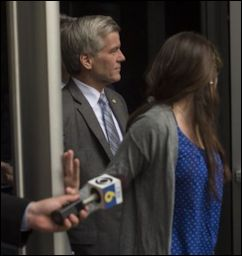 Bob McDonnell leaves the federal courthouse in Richmond yesterday. Photo credit; Washington Post.