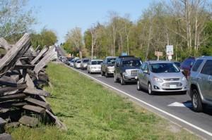 Traffic back-up on Sudley Road in Manassas National Battlefield Park