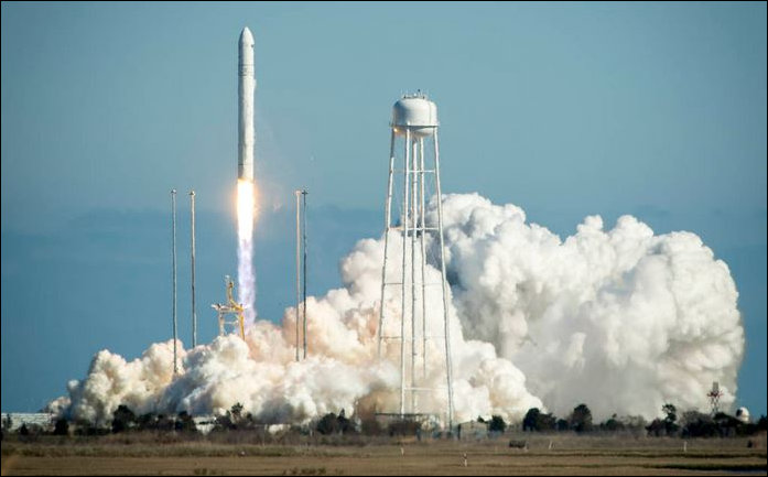Antares rocket blasts off at the Mid-Atlantic Regional Spaceport.