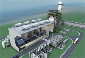 Rendering of a GE combined-cycle natural gas-burning plant.
