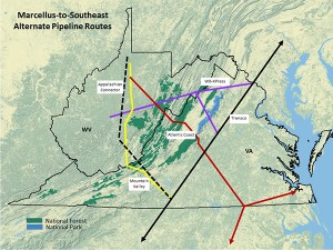 This map shows approximate routes of four proposed natural gas pipelines running through Virginia. Image credit: Dominion Pipeline Monitoring Coalition